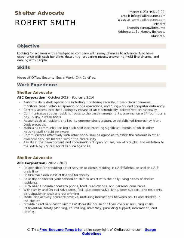 Shelter Advocate Resume Template