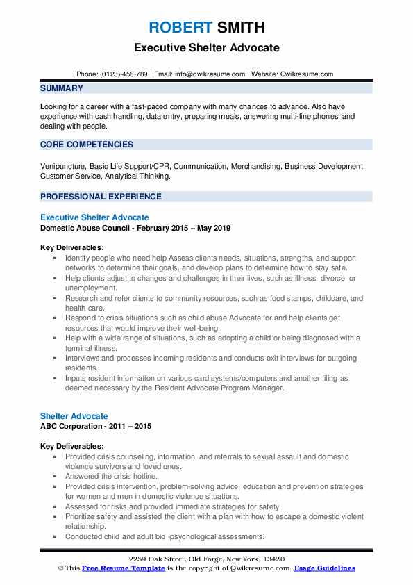 Executive Shelter Advocate Resume Model