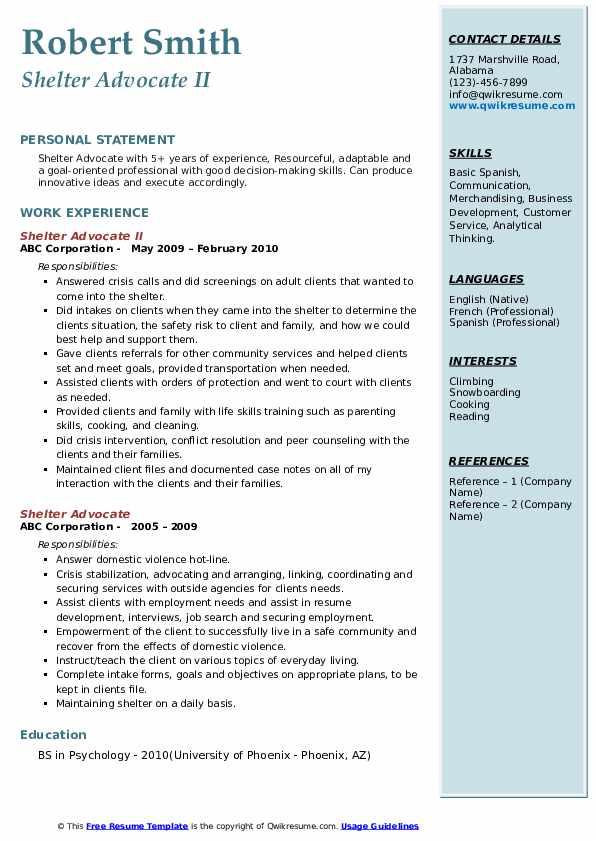 Shelter Advocate II Resume Example