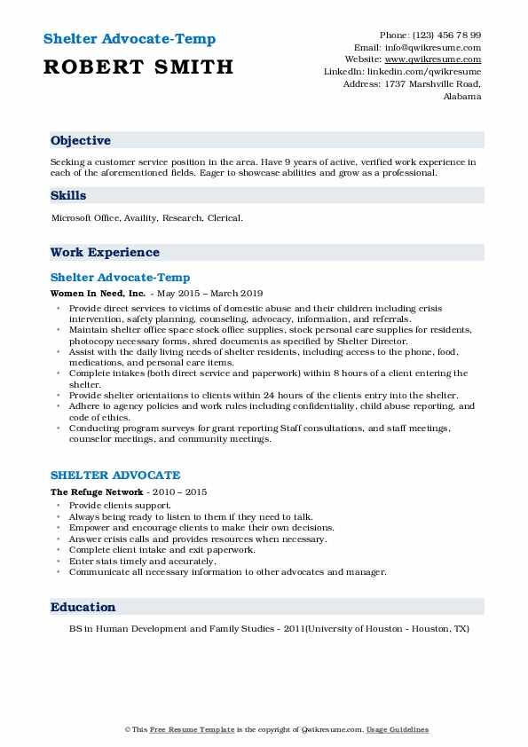 Shelter Advocate-Temp Resume Sample