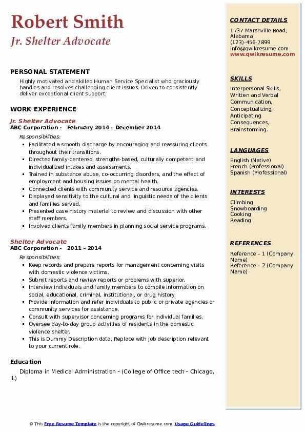 Jr. Shelter Advocate Resume Format