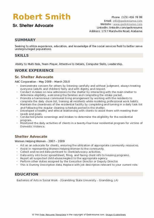 Sr. Shelter Advocate Resume Format
