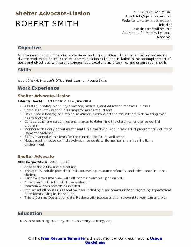 Shelter Advocate-Liasion Resume Template