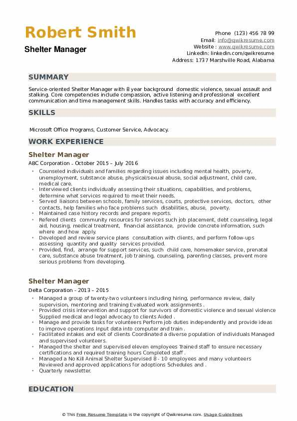 Shelter Manager Resume example