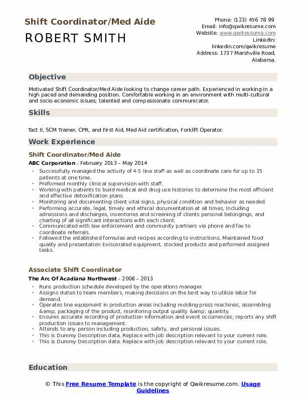 Shift Coordinator/Med Aide Resume Format