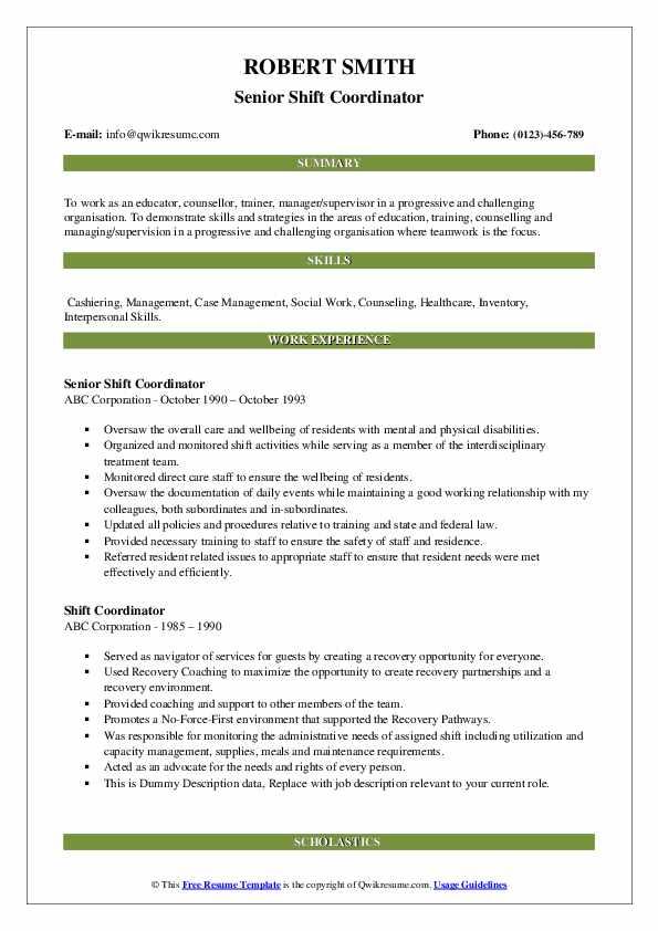 Senior Shift Coordinator Resume Example