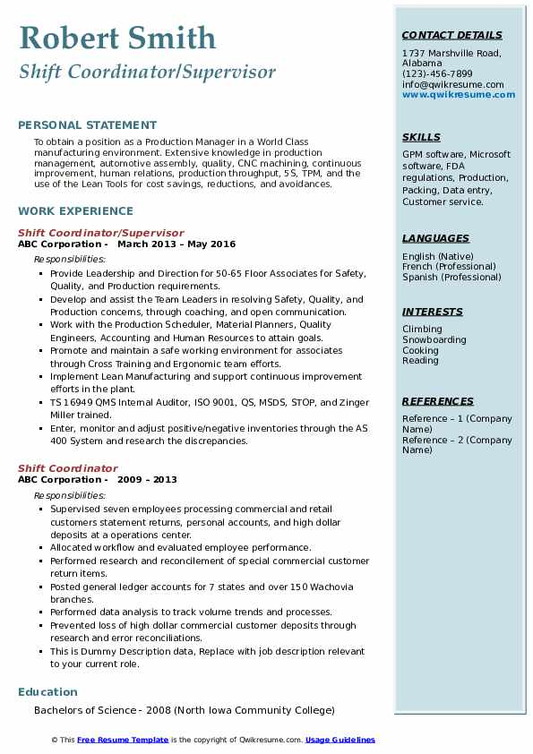 Shift Coordinator/Supervisor Resume Model