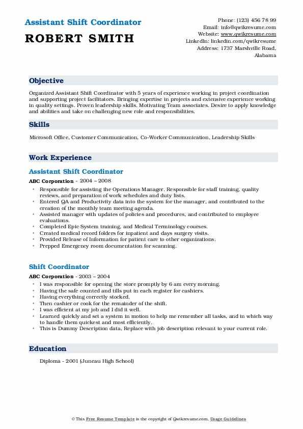 Assistant Shift Coordinator Resume Format
