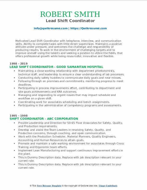 Lead Shift Coordinator Resume Model