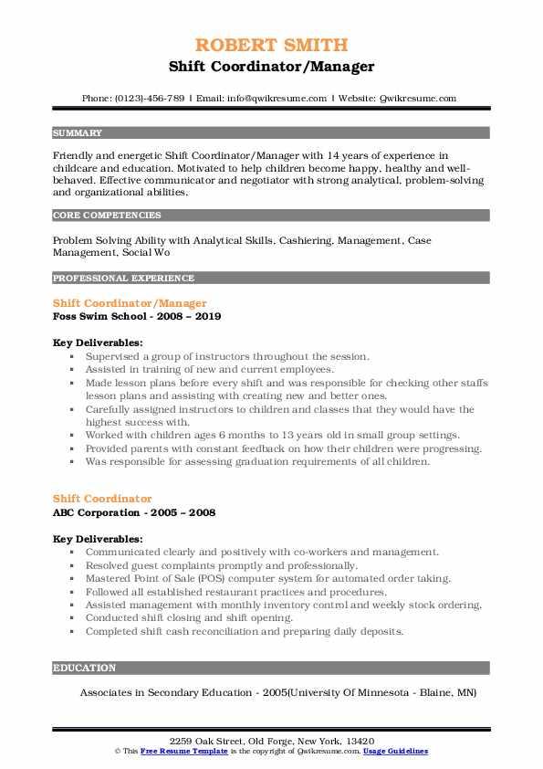 Shift Coordinator/Manager Resume Sample