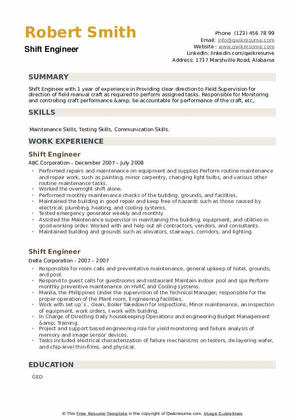 Shift Engineer Resume example