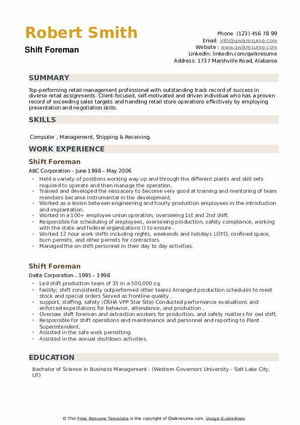 Shift Foreman Resume example