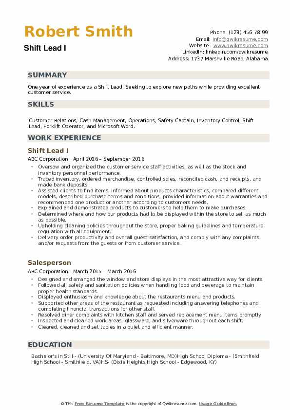 Shift Lead Resume example