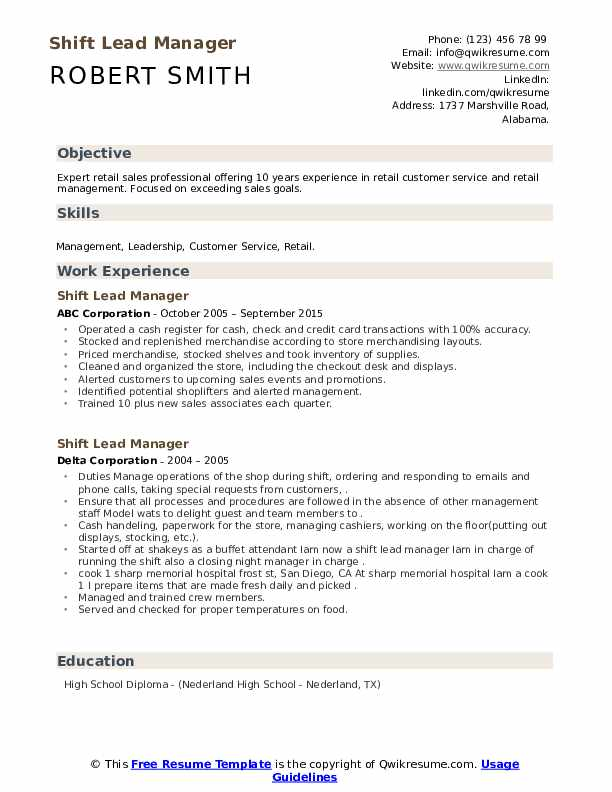 Shift Lead Manager Resume example