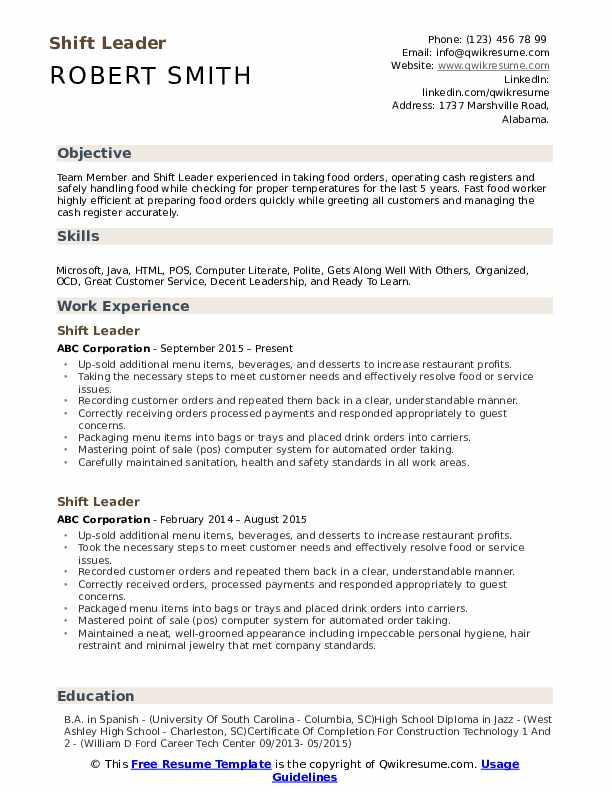 Shift Leader  Resume Format