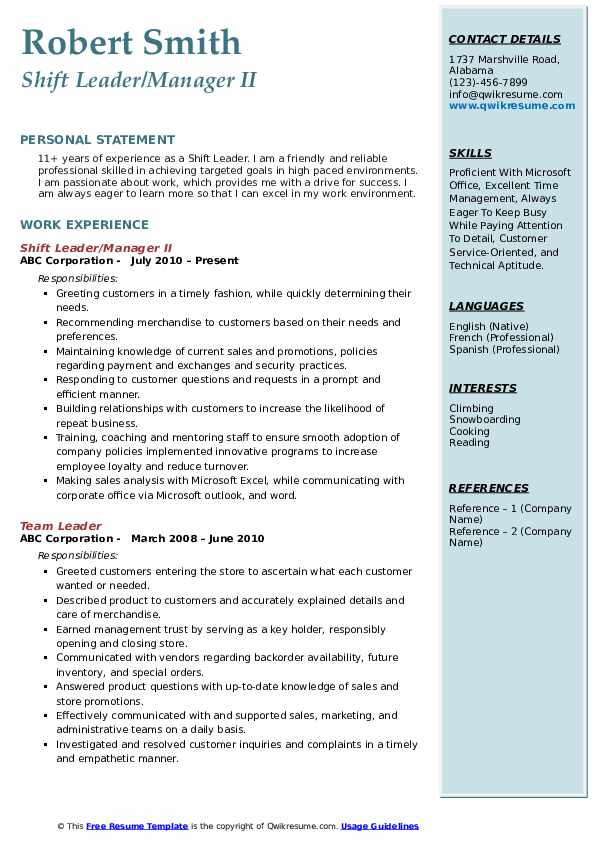 Shift Leader/Manager II Resume Model