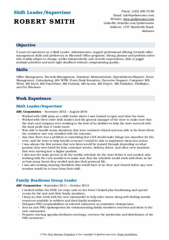 Shift Leader/Supervisor Resume Template