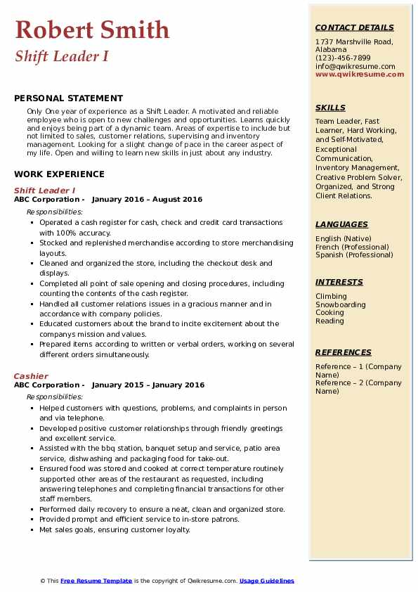 Shift Leader I Resume Template