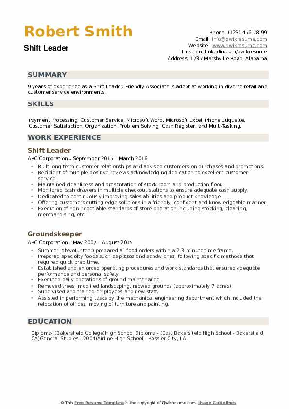 Shift Leader Resume example