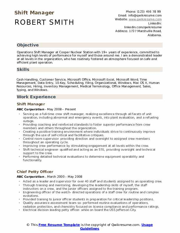 Shift Manager Resume Example