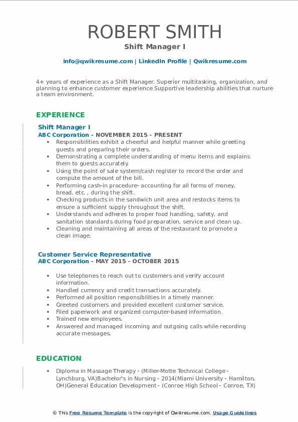 Shift Manager I Resume Template