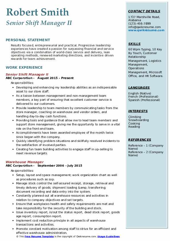 Senior Shift Manager II Resume Sample