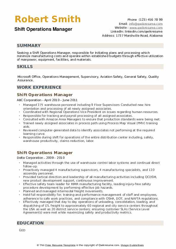 Shift Operations Manager Resume example