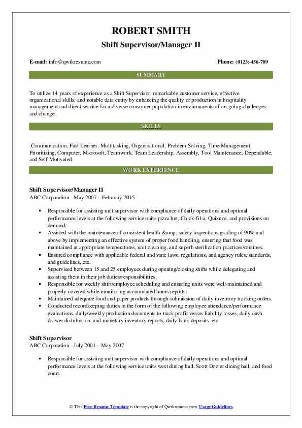 Shift Supervisor/Manager II Resume Model