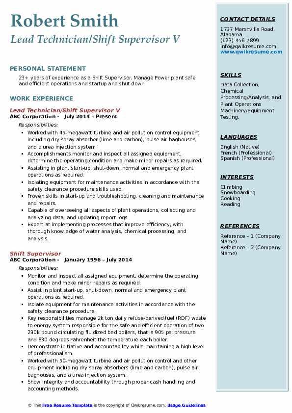 Lead Technician/Shift Supervisor V Resume Template
