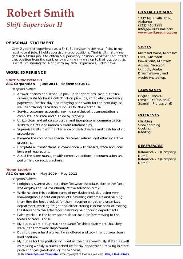 Shift Supervisor II Resume Model