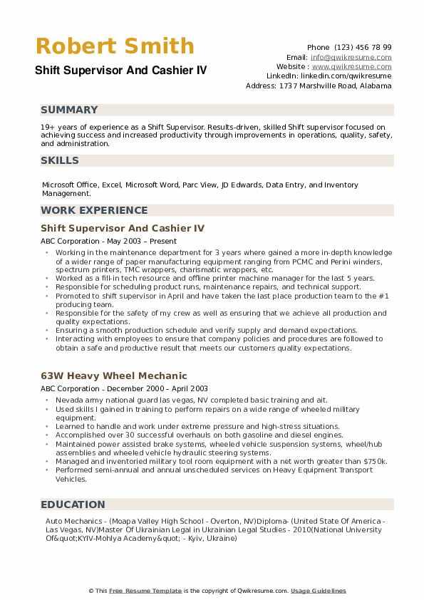 Shift Supervisor Resume example