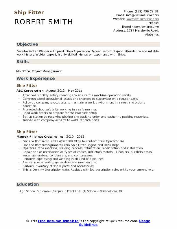 Ship Fitter Resume example