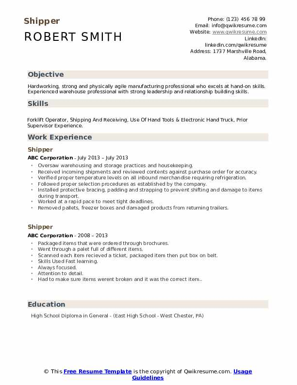 Shipper Resume Example