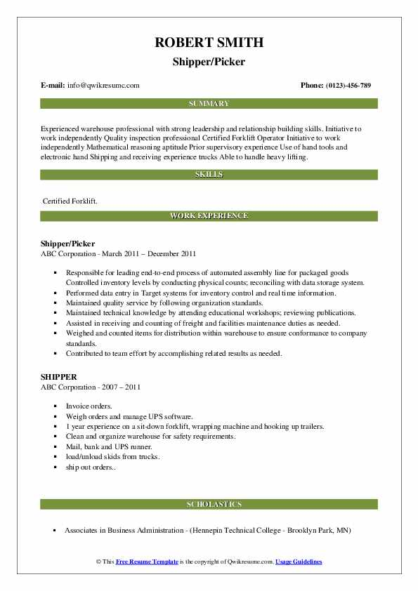 Shipper/Picker Resume Example