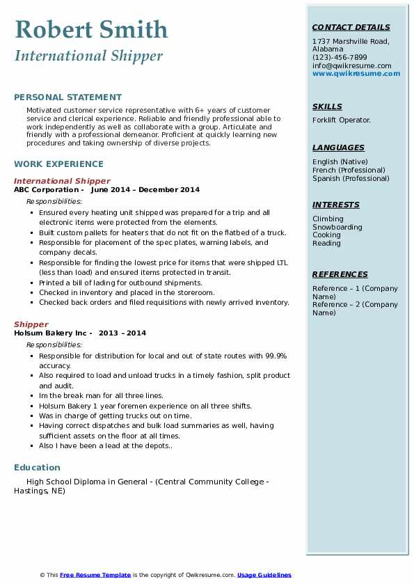 International Shipper Resume Model