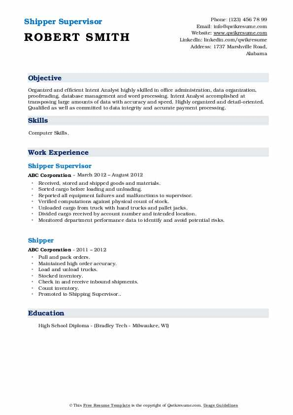 Shipper Supervisor Resume Format