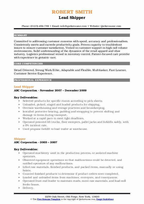 Lead Shipper Resume Template