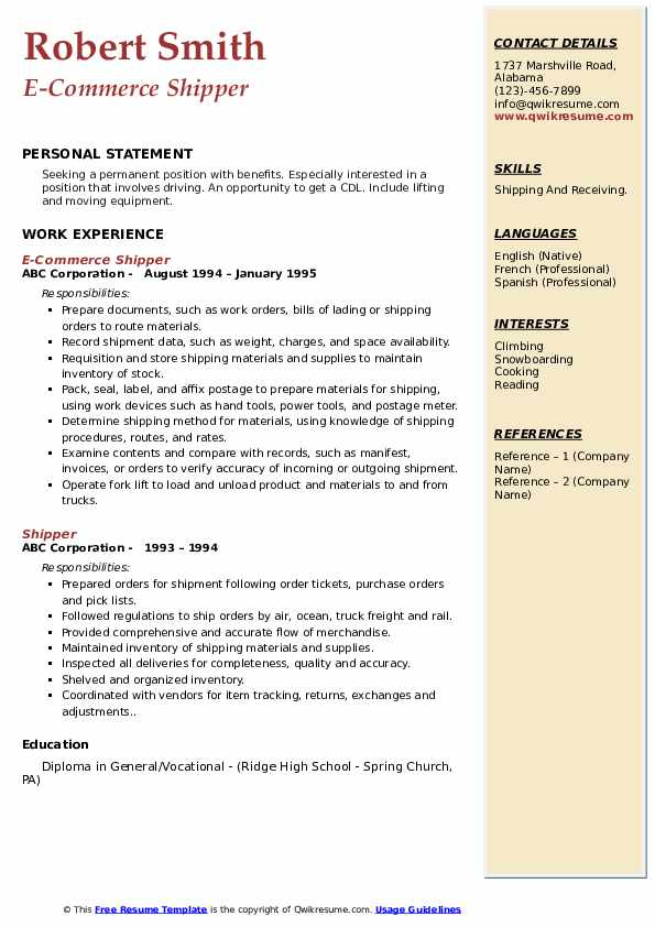 E-Commerce Shipper Resume Format