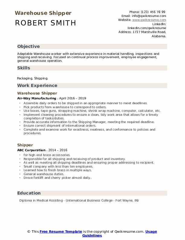 Warehouse Shipper Resume Sample