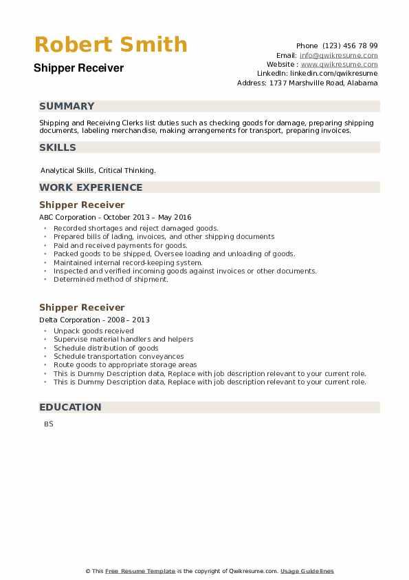 Shipper Receiver Resume example