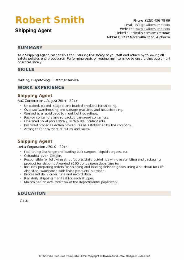 Shipping Agent Resume example