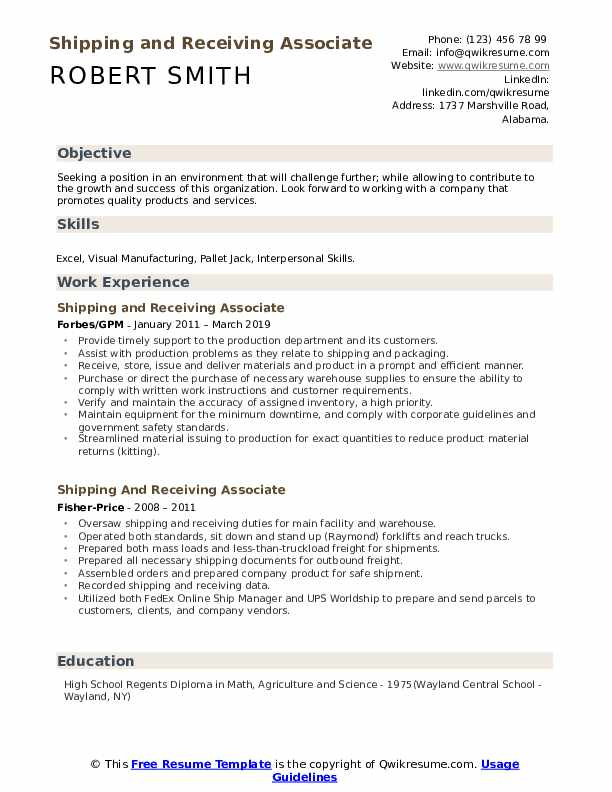 Shipping and Receiving Associate Resume Format