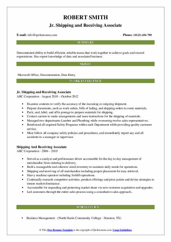 Jr. Shipping and Receiving Associate Resume Sample