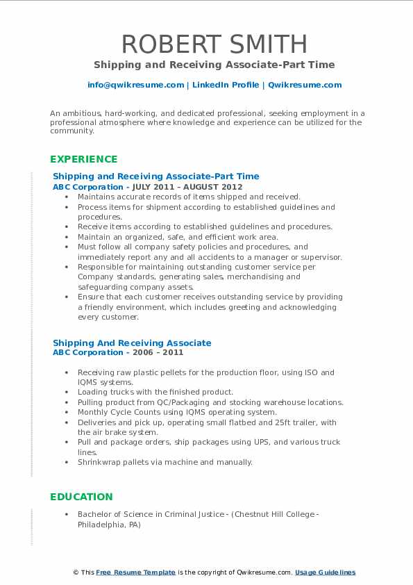 Shipping and Receiving Associate-Part Time Resume Template