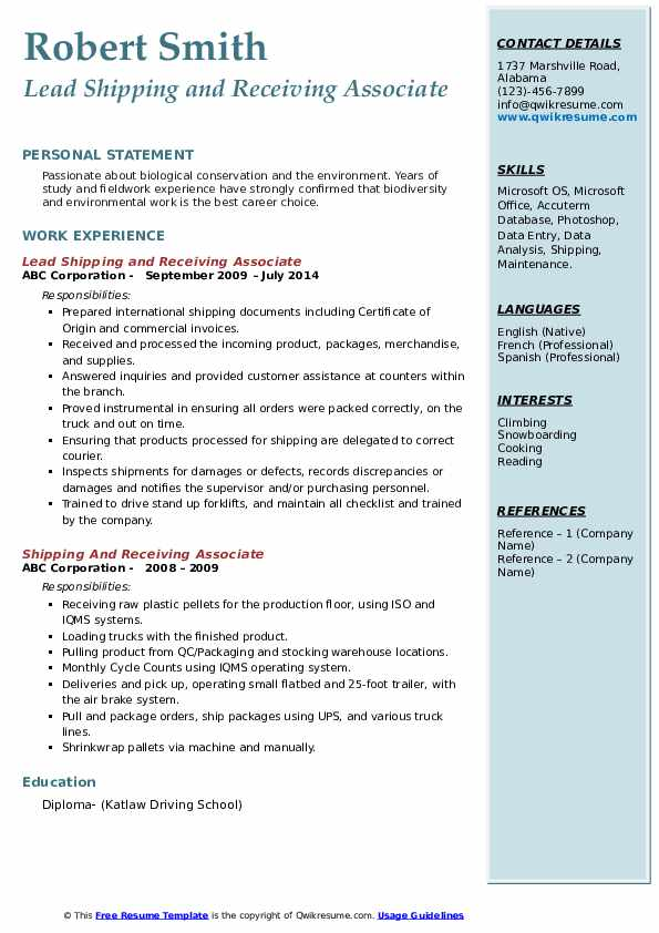 Lead Shipping and Receiving Associate Resume Model