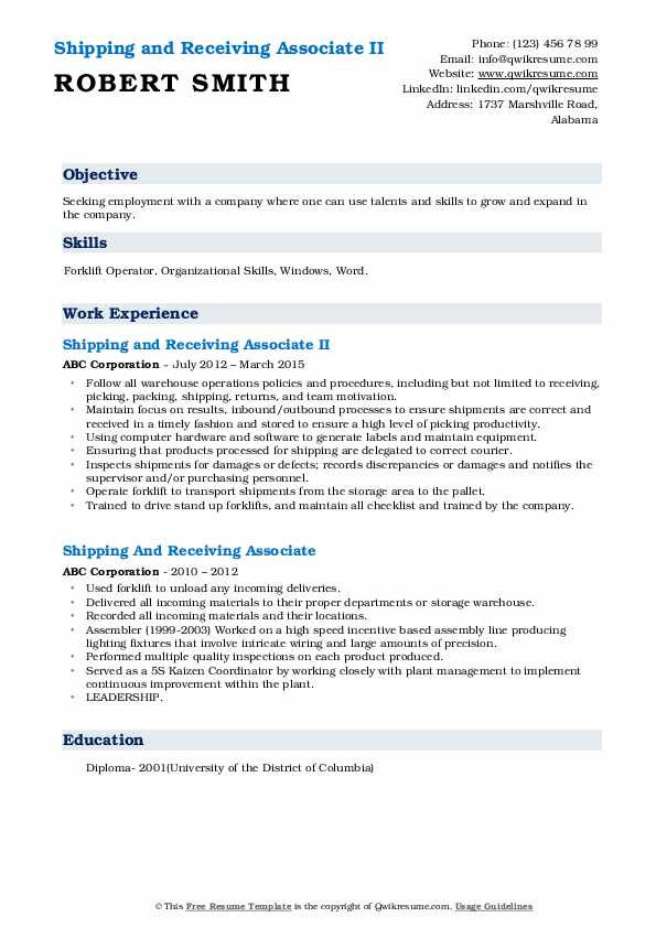 Shipping and Receiving Associate II Resume Sample