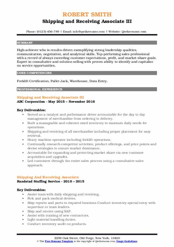 Shipping and Receiving Associate III Resume Model