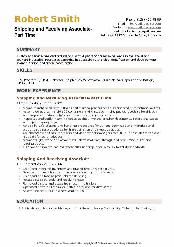 Shipping and Receiving Associate-Part Time Resume Sample