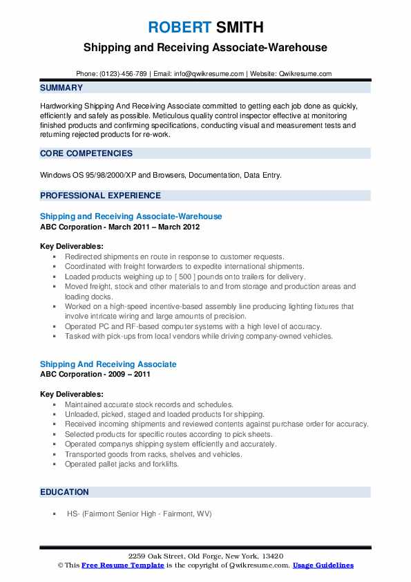 Shipping and Receiving Associate-Warehouse Resume Model