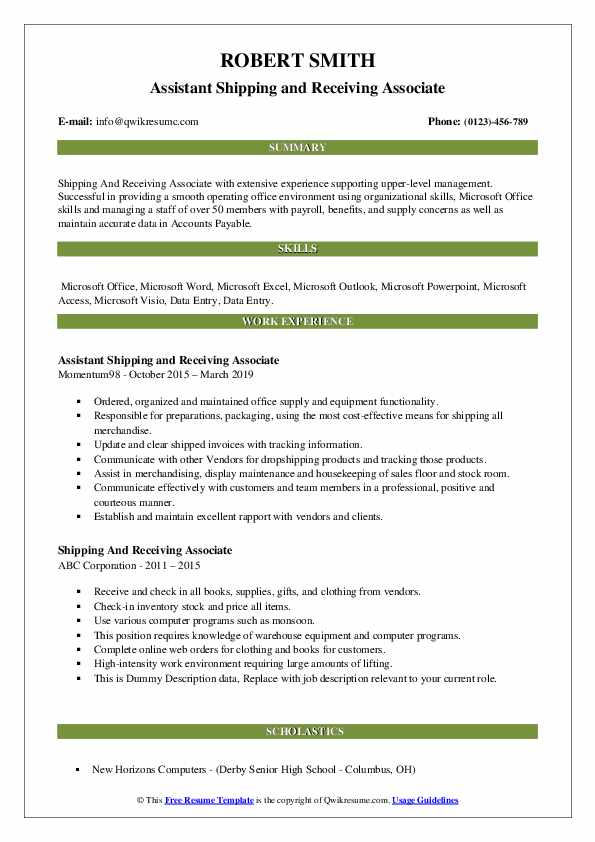 Assistant Shipping and Receiving Associate Resume Template